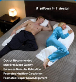Man & Woman sleeping with Snoozer full body pillows