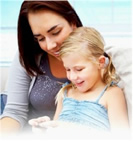 Woman and Child using Cell phone