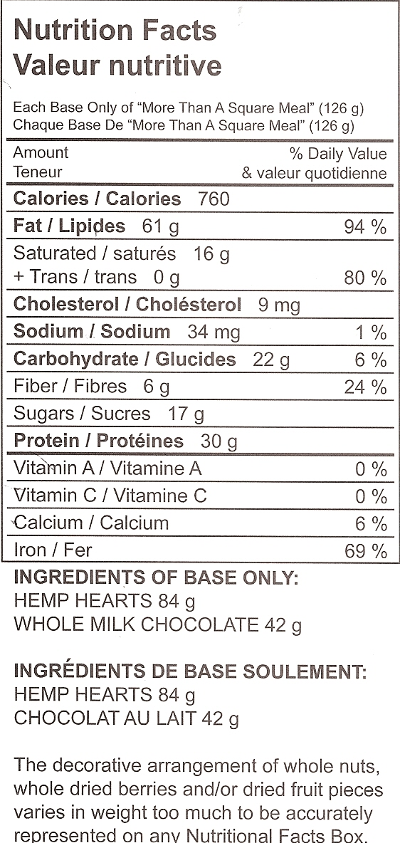Hemp Heart Meal Replacement Bar Nutrition Facts